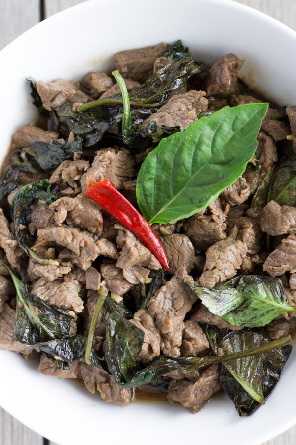 Thai Beef Basil on a white plate.