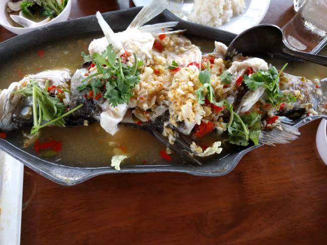 Steamed fish in Lime with Garlic and Chilis