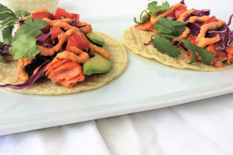 Salmon Tacos with Chipotle Cream Sauce- thaicaliente