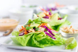 Thai Chicken Lettuce Wraps with Peanut Dressing
