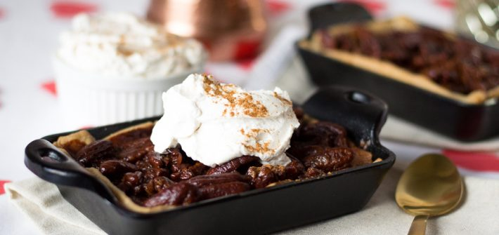 Abuelita Chocolate Pecan Pie with Cinnamon Whipped Cream