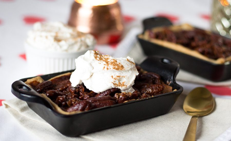 Abuelita Chocolate Pecan Pie with Cinnamon Whipped Cream