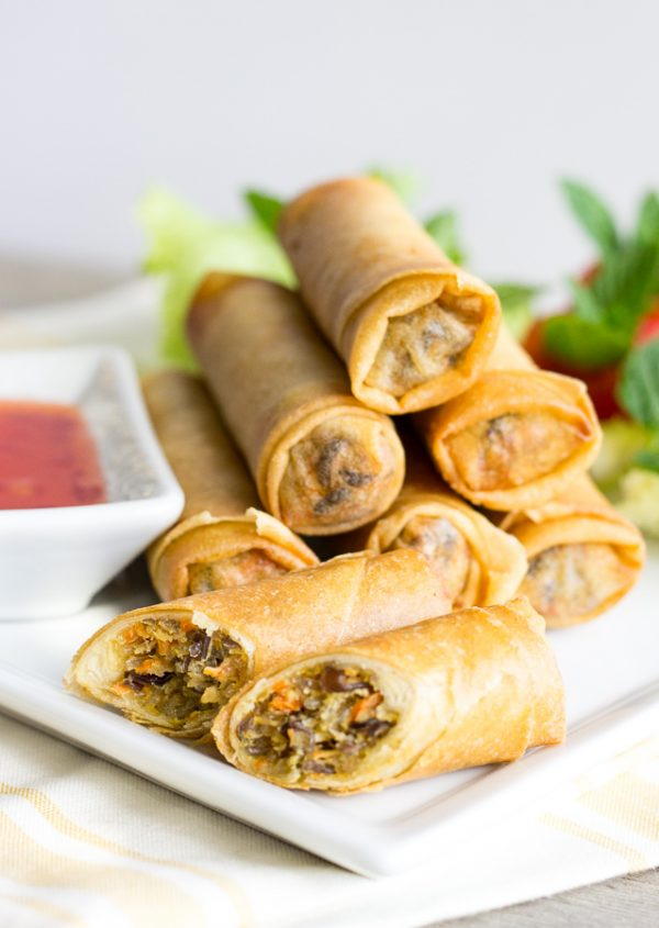 Thai Chicken Spring Rolls- deep fried and perfect for a party.