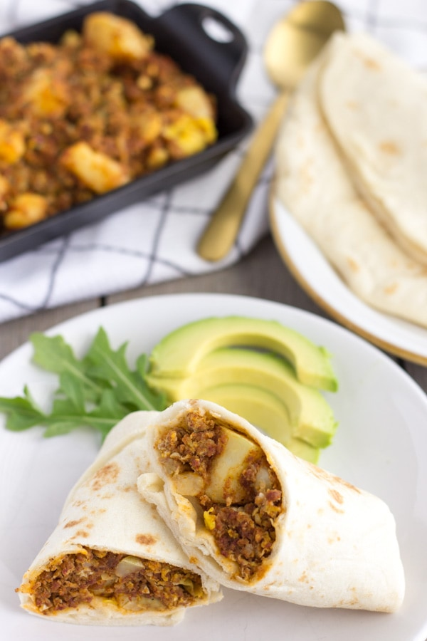 Chorizo Potato and Egg Burritos