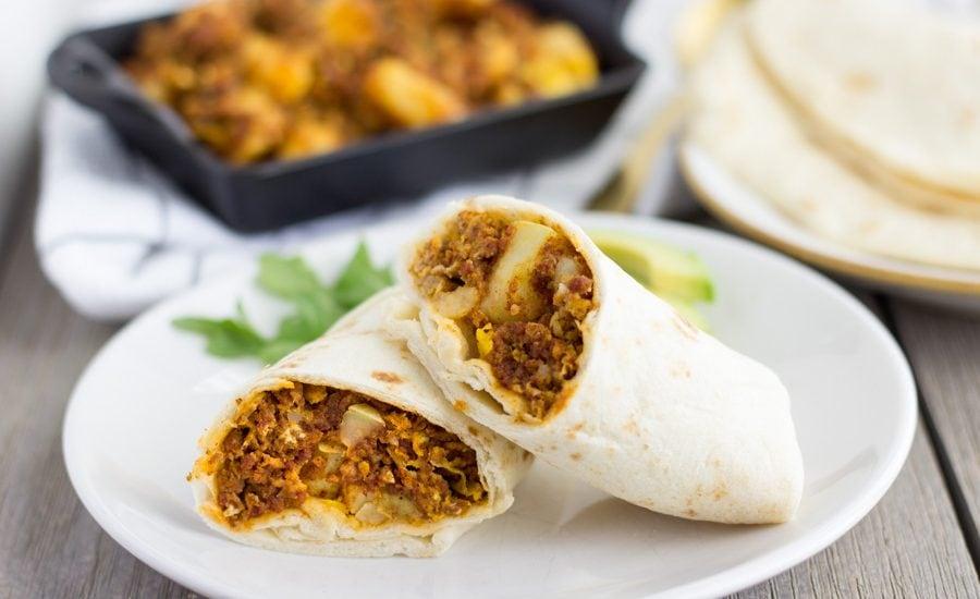 Chorizo Potato and Egg Burritos