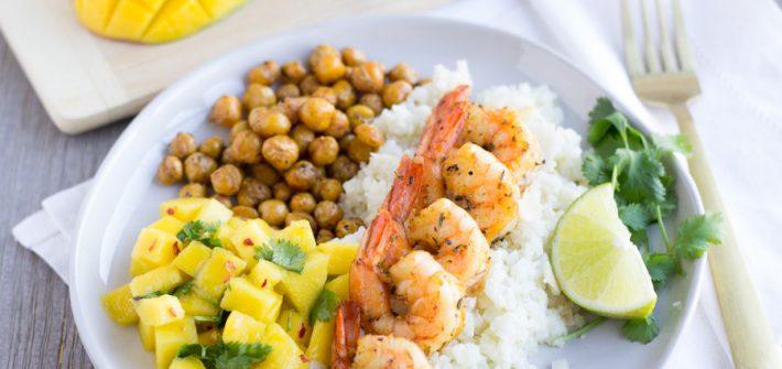 Jerk Shrimp with Coconut Cauliflower Rice, spiced chickpeas, and a mango salsa
