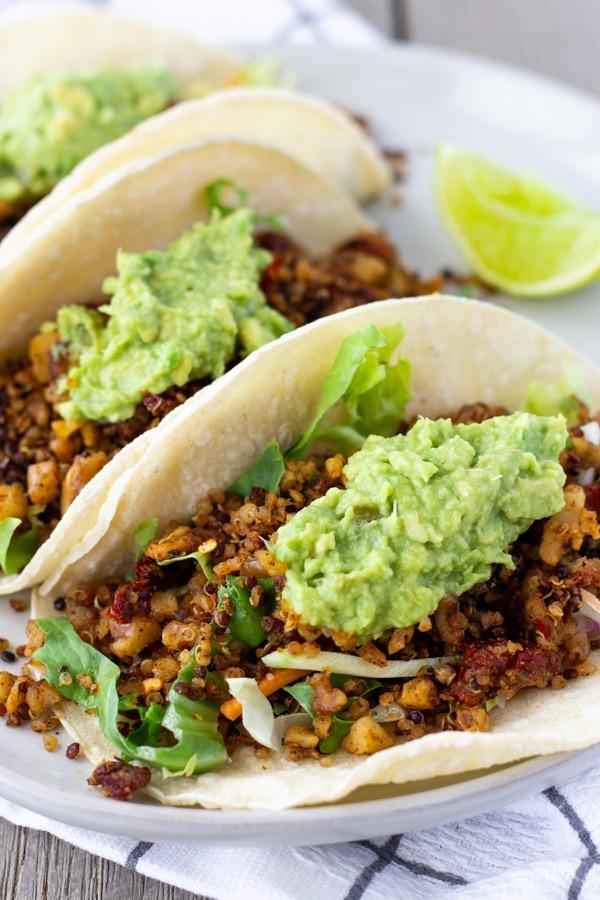Vegan Chorizo Tacos made with walnuts and quinoa- ThaiCaliente.com