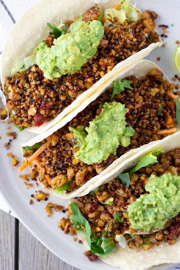 Vegan Chorizo Tacos made with walnuts and quinoa- ThaiCaliente.com