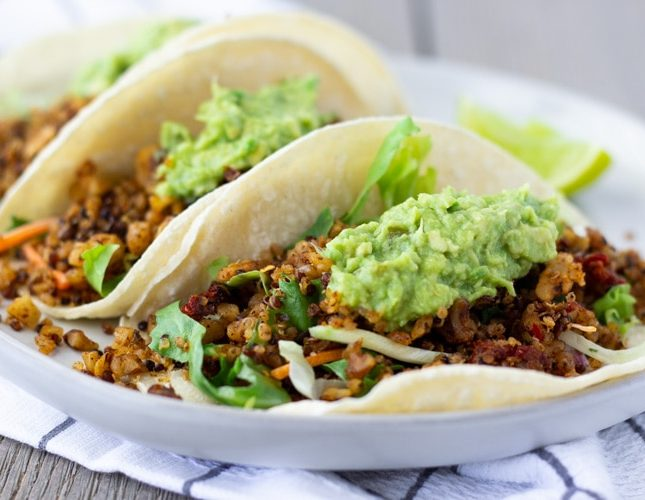 Vegan Chorizo Tacos With Walnuts and Quinoa