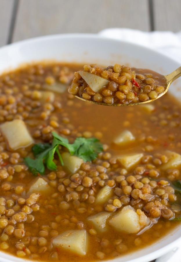 Sopa de Lentejas- Mexican Lentil Soup with potatoes- ThaiCaliente.com