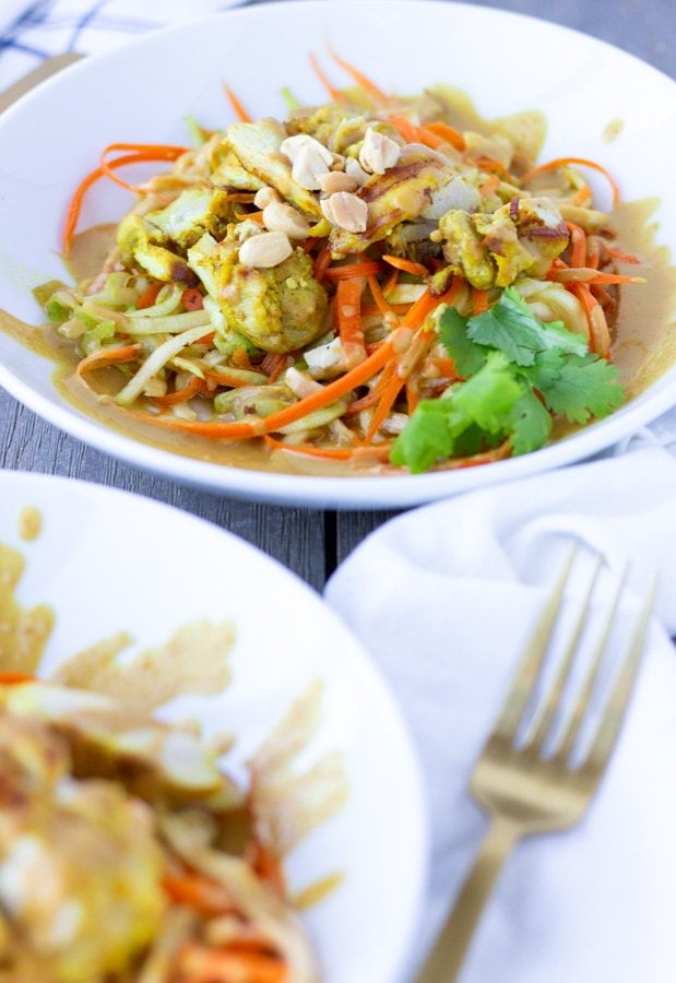 Spiralized zucchini and carrots topped with Thai chicken Satay and a creamy peanut sauce.
