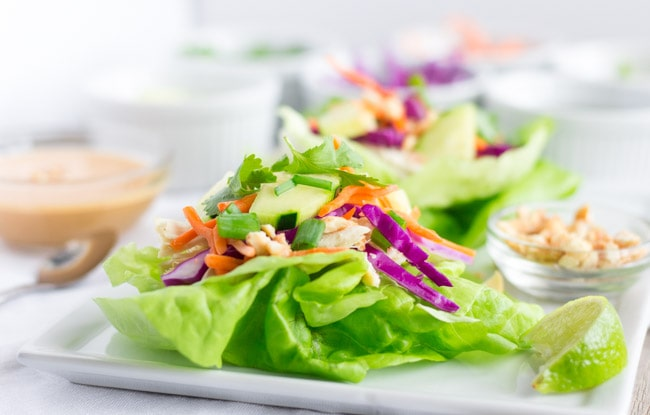 Chicken Lettuce wraps on a white plate