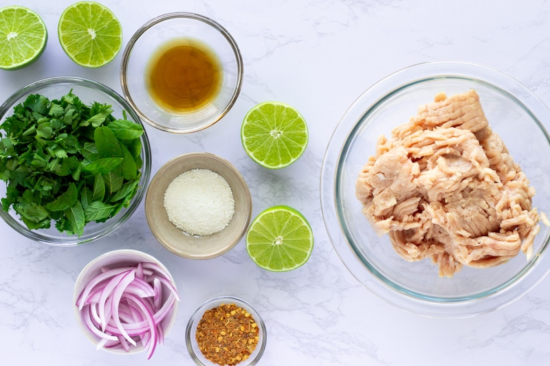 Ingredients flat layed for Larb Gai